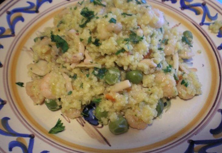 Cous cous di verdure con gamberi