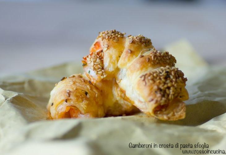 Gamberoni in crosta di pasta sfoglia