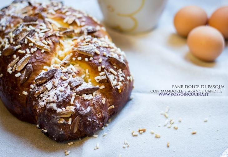 Pane dolce di Pasqua con mandorle e arance candite